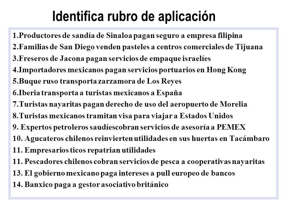Identifica rubro de aplicación