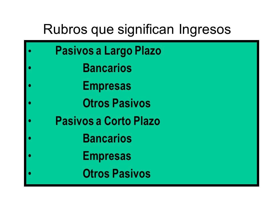 Rubros que significan Ingresos