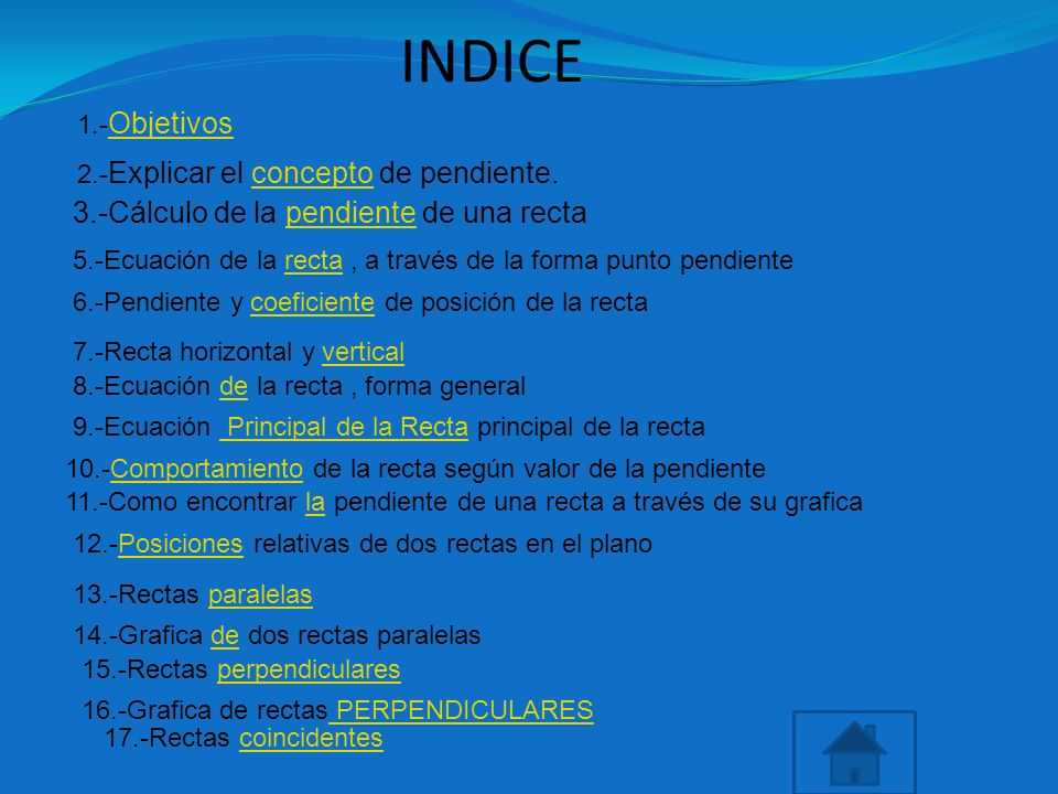 INDICE 3.-Cálculo de la pendiente de una recta 1.-Objetivos