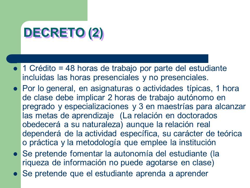 DECRETO (2) 1 Crédito = 48 horas de trabajo por parte del estudiante incluidas las horas presenciales y no presenciales.