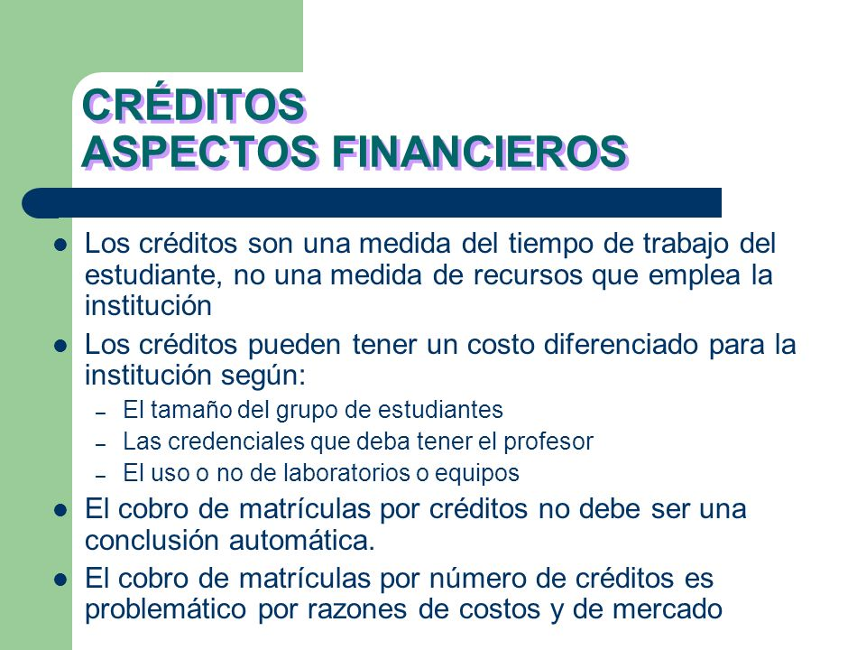 CRÉDITOS ASPECTOS FINANCIEROS