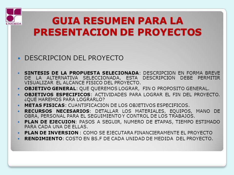 GUIA RESUMEN PARA LA PRESENTACION DE PROYECTOS