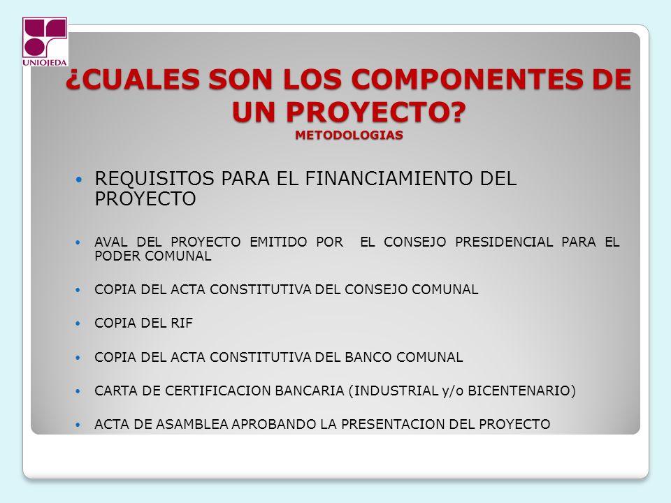¿CUALES SON LOS COMPONENTES DE UN PROYECTO METODOLOGIAS