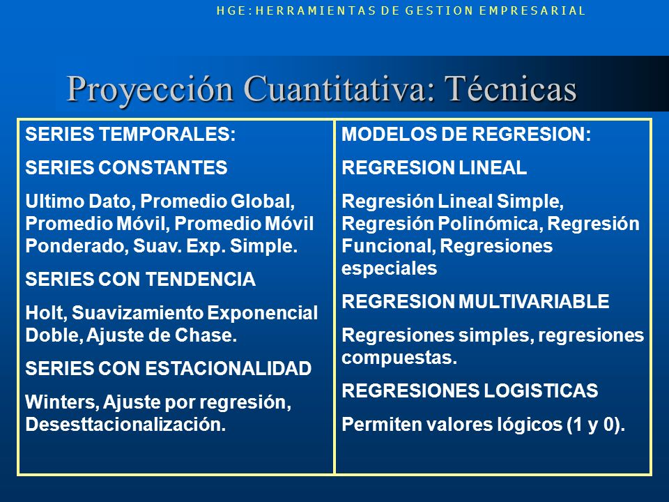 Proyección Cuantitativa: Técnicas