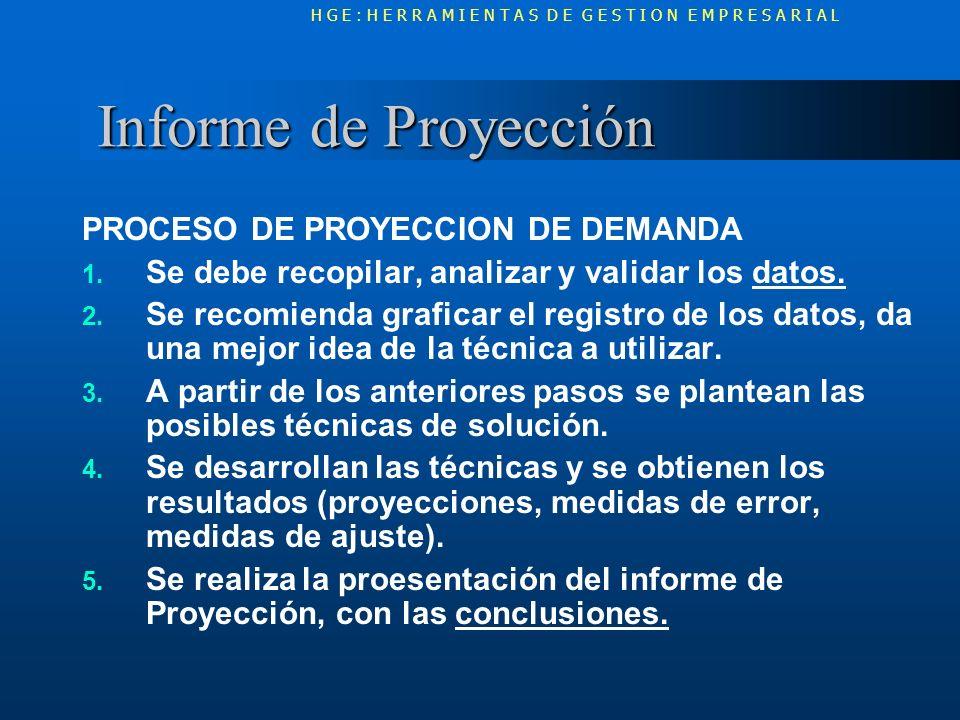 Informe de Proyección PROCESO DE PROYECCION DE DEMANDA