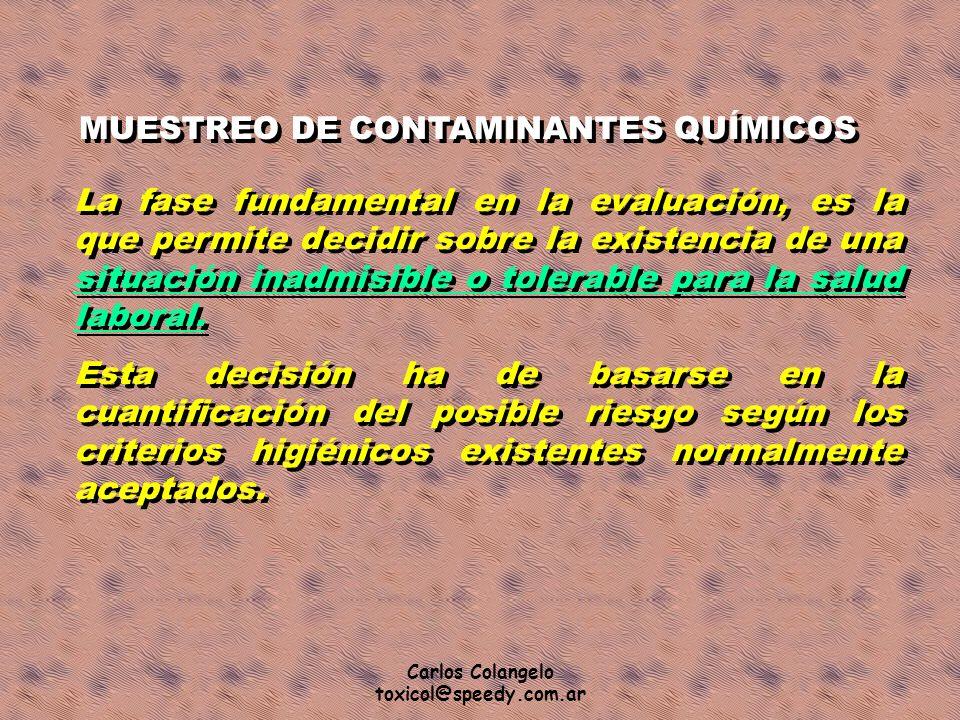 MUESTREO DE CONTAMINANTES QUÍMICOS