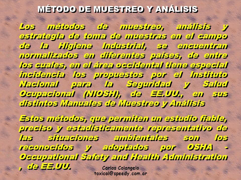 MÉTODO DE MUESTREO Y ANÁLISIS