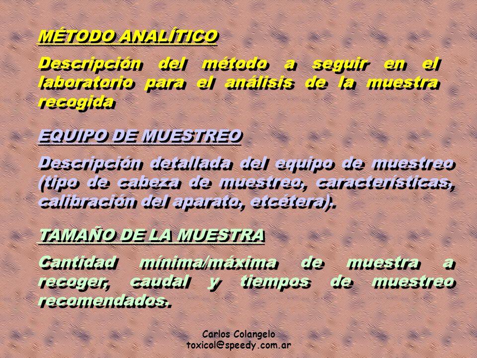 MÉTODO ANALÍTICO Descripción del método a seguir en el laboratorio para el análisis de la muestra recogida.