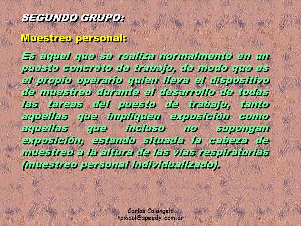 SEGUNDO GRUPO: Muestreo personal: