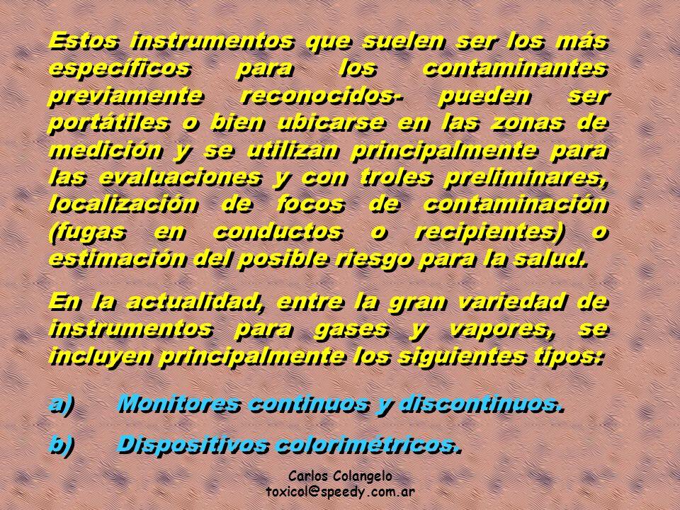 a) Monitores continuos y discontinuos. b) Dispositivos colorimétricos.