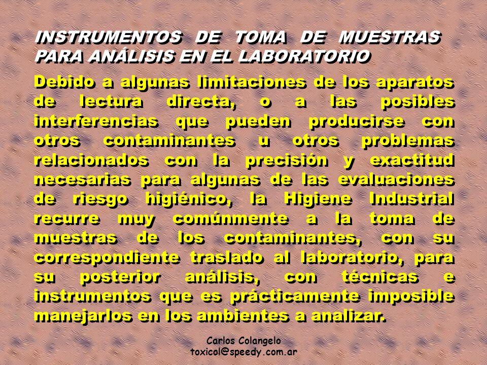 INSTRUMENTOS DE TOMA DE MUESTRAS PARA ANÁLISIS EN EL LABORATORIO