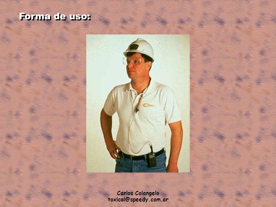 Forma de uso: Carlos Colangelo toxicol@speedy.com.ar