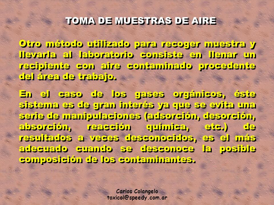 TOMA DE MUESTRAS DE AIRE