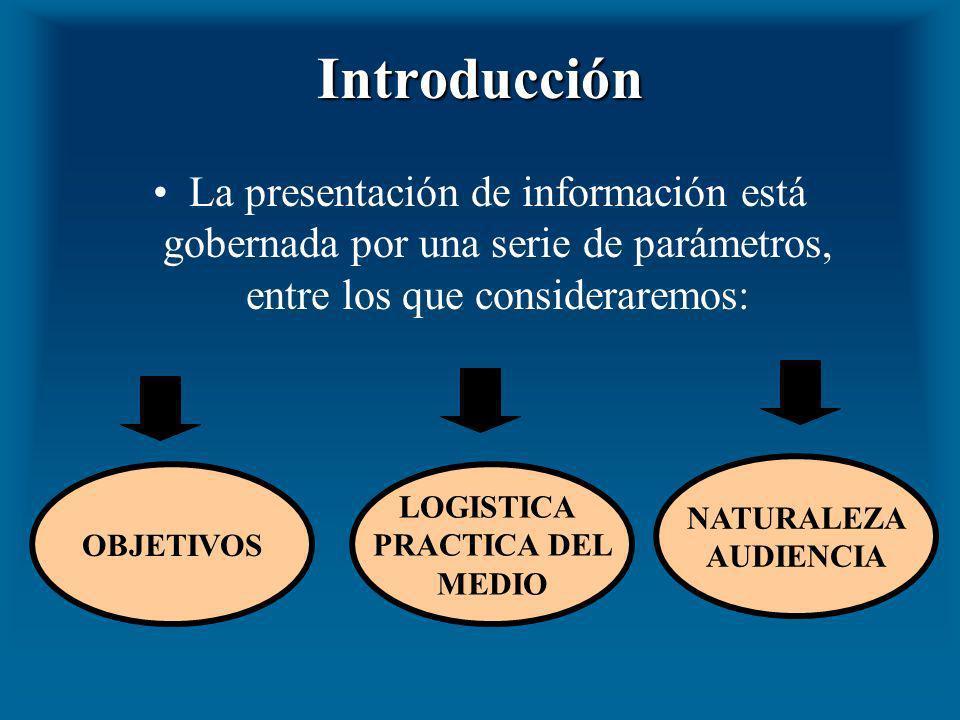 Introducción La presentación de información está gobernada por una serie de parámetros, entre los que consideraremos: