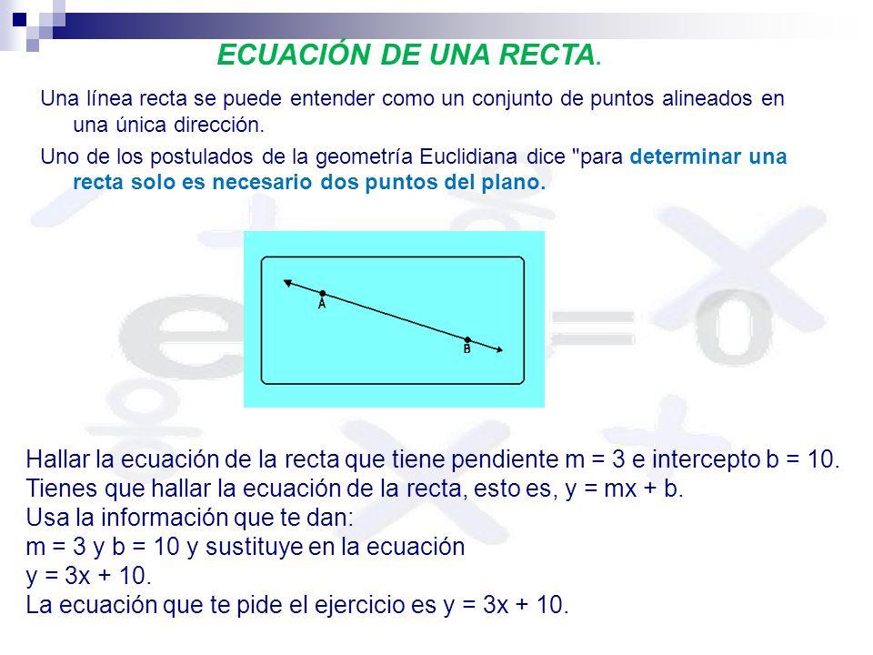 ECUACIÓN DE UNA RECTA. Una línea recta se puede entender como un conjunto de puntos alineados en una única dirección.
