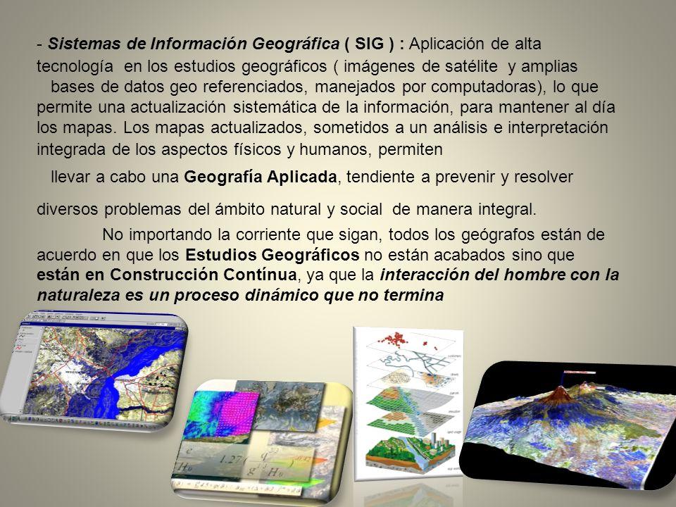 - Sistemas de Información Geográfica ( SIG ) : Aplicación de alta tecnología en los estudios geográficos ( imágenes de satélite y amplias