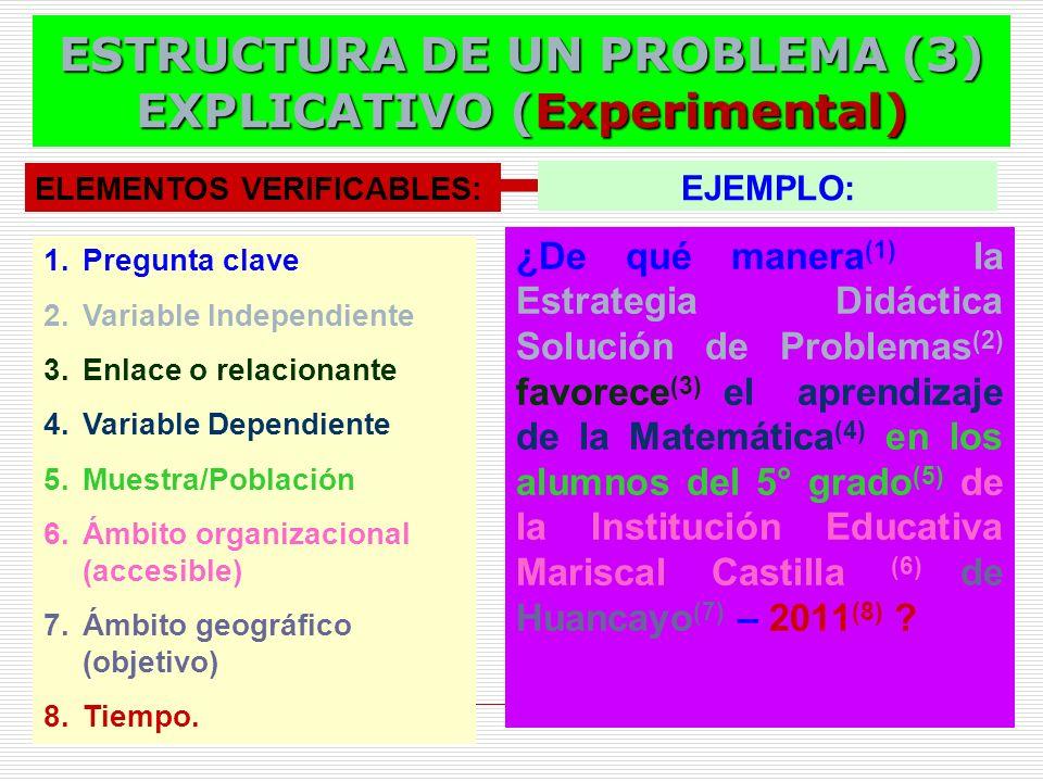 ESTRUCTURA DE UN PROBLEMA (3) EXPLICATIVO (Experimental)