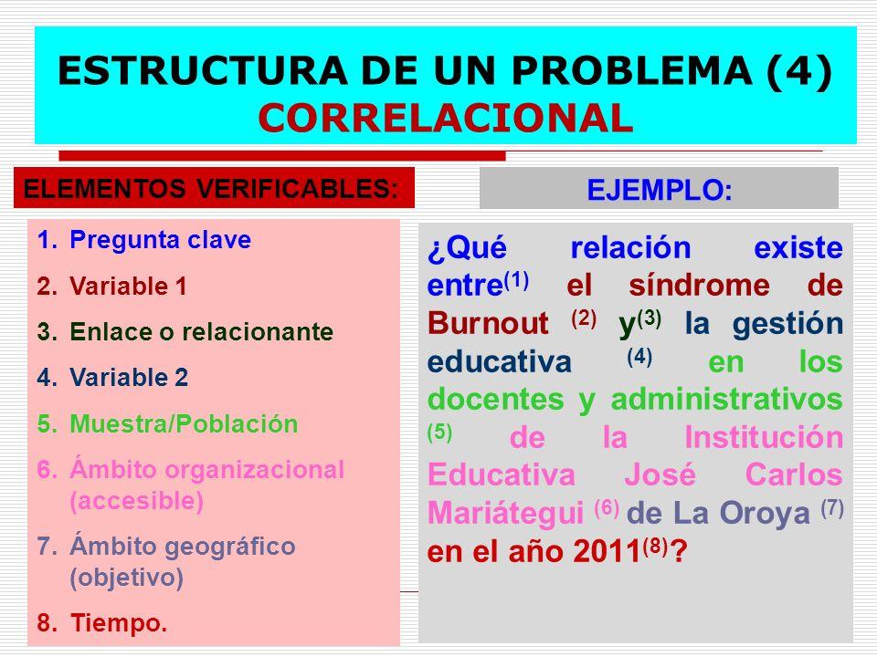ESTRUCTURA DE UN PROBLEMA (4) CORRELACIONAL