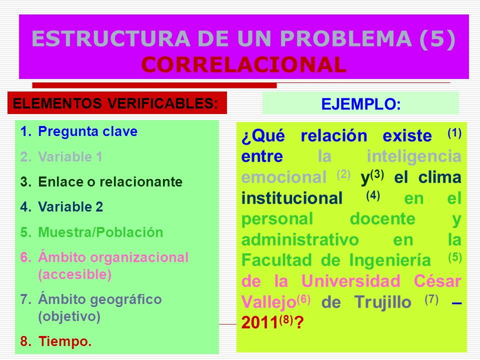 ESTRUCTURA DE UN PROBLEMA (5) CORRELACIONAL
