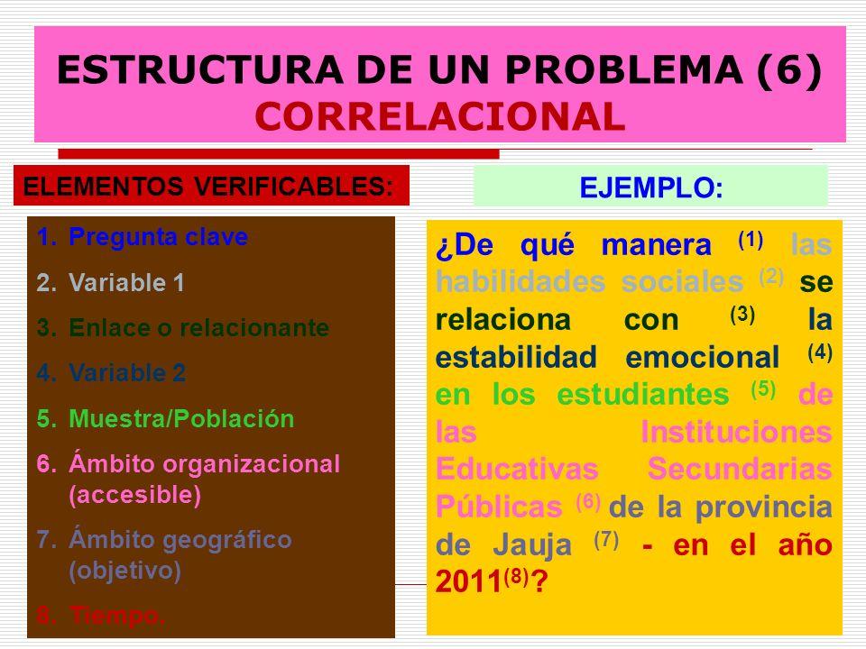 ESTRUCTURA DE UN PROBLEMA (6) CORRELACIONAL