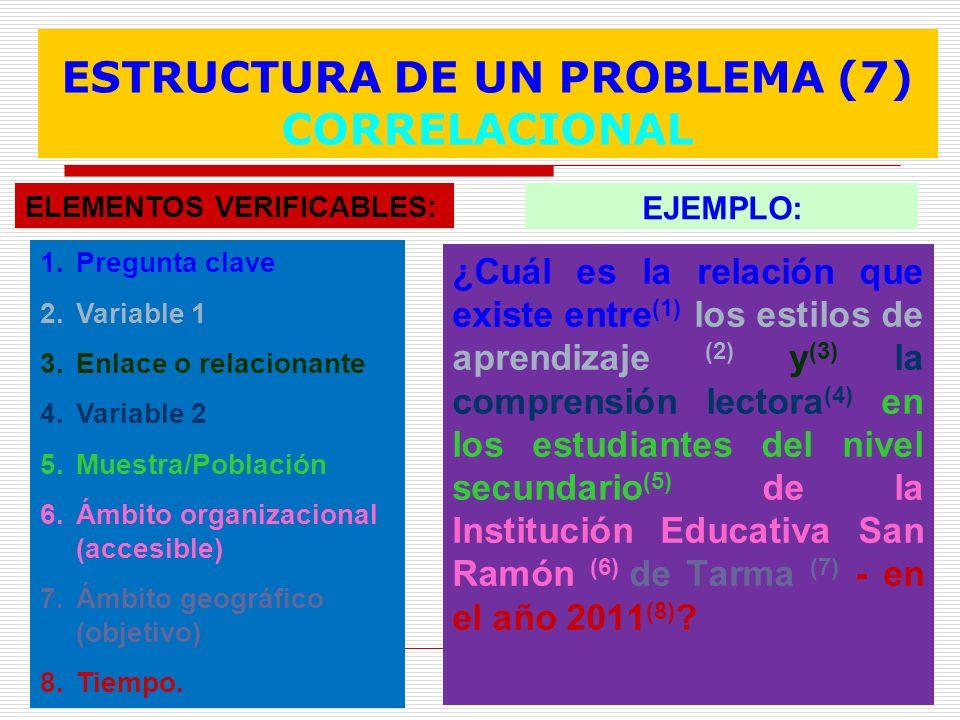 ESTRUCTURA DE UN PROBLEMA (7) CORRELACIONAL