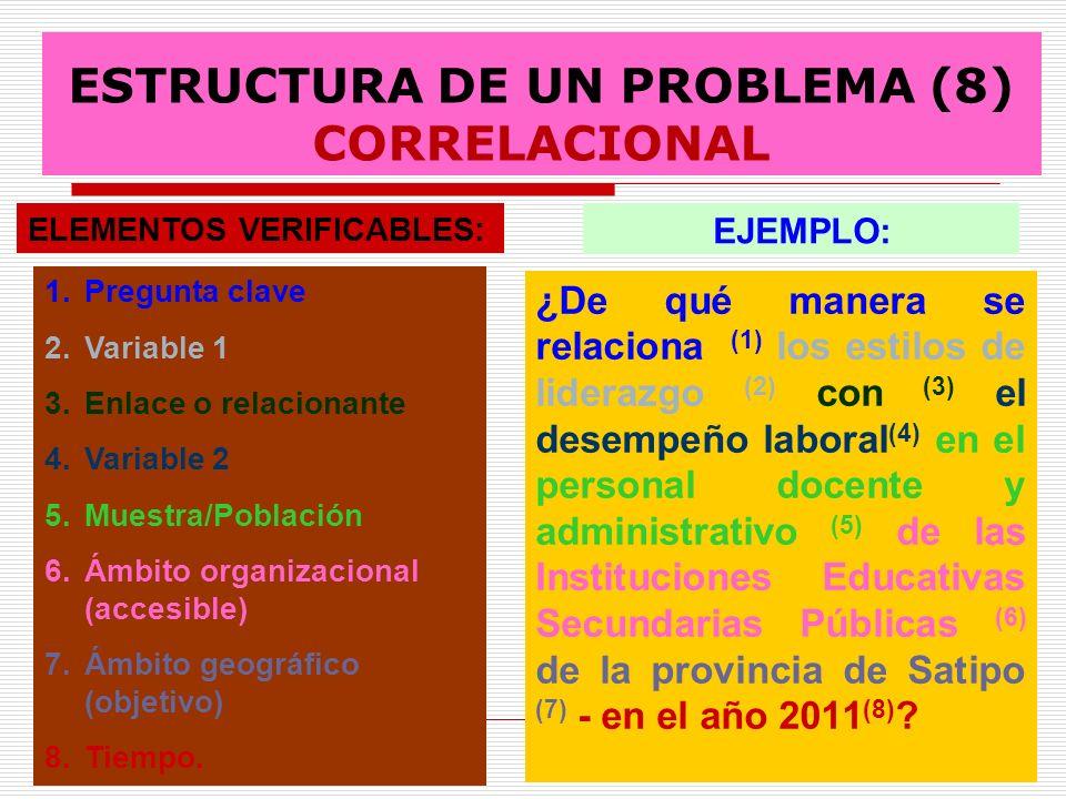 ESTRUCTURA DE UN PROBLEMA (8) CORRELACIONAL