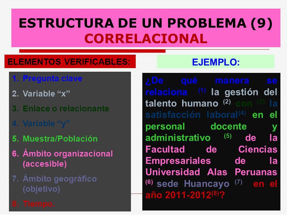 ESTRUCTURA DE UN PROBLEMA (9) CORRELACIONAL