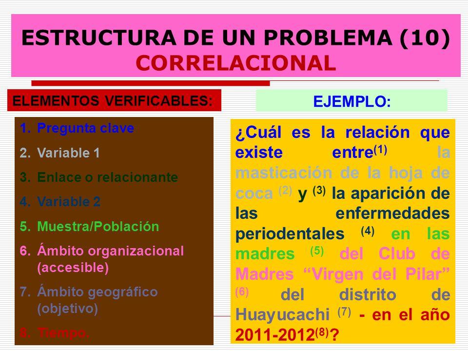 ESTRUCTURA DE UN PROBLEMA (10) CORRELACIONAL