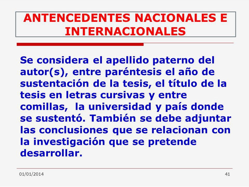 ANTENCEDENTES NACIONALES E INTERNACIONALES