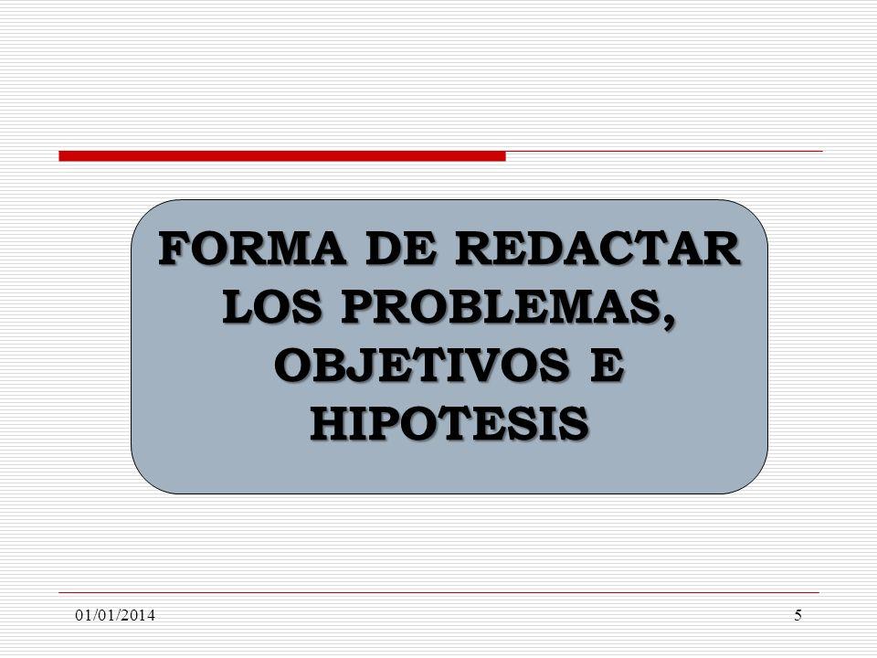 FORMA DE REDACTAR LOS PROBLEMAS, OBJETIVOS E HIPOTESIS