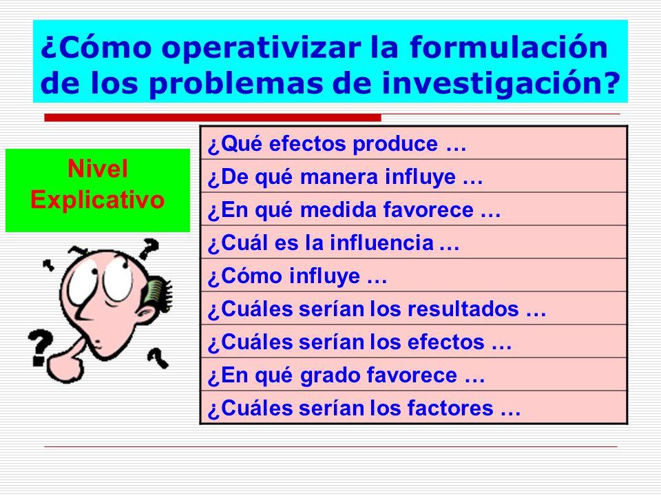 ¿Cómo operativizar la formulación de los problemas de investigación