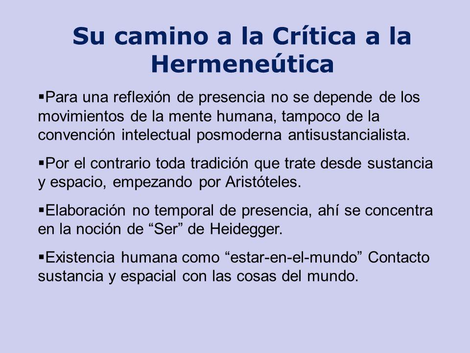 Su camino a la Crítica a la Hermeneútica