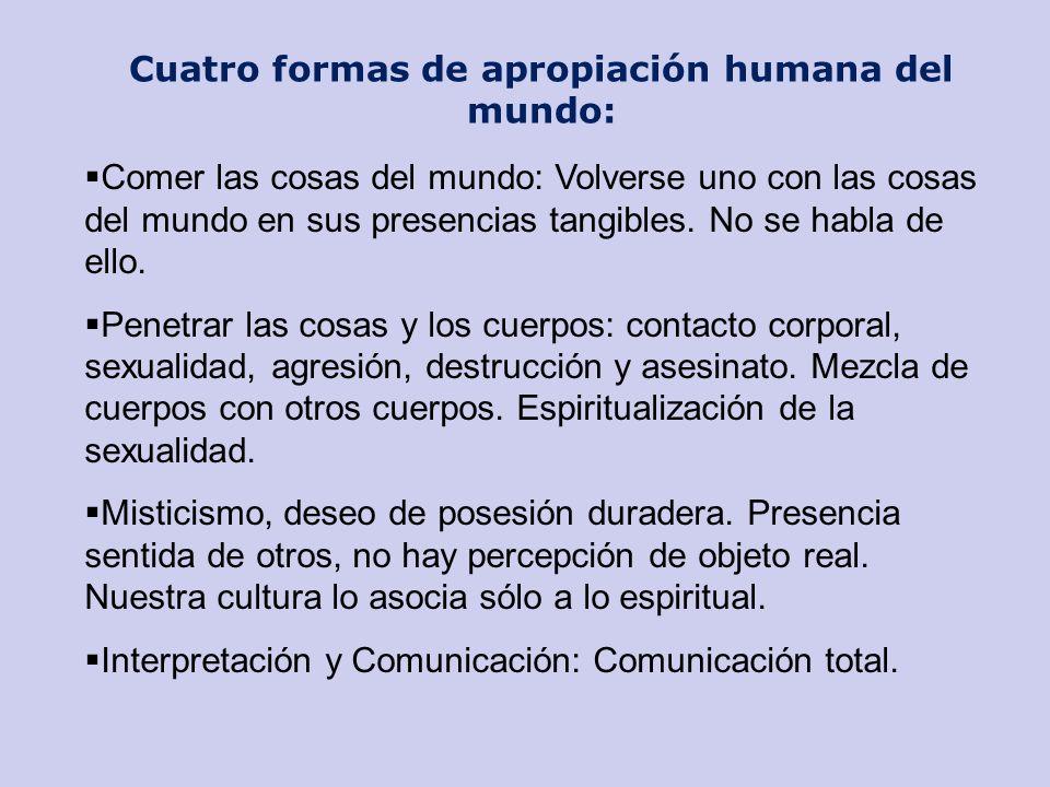 Cuatro formas de apropiación humana del mundo: