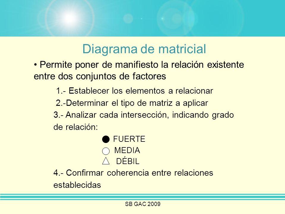 Diagrama de matricial Permite poner de manifiesto la relación existente entre dos conjuntos de factores.