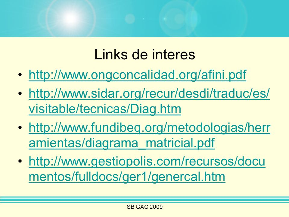 Links de interes http://www.ongconcalidad.org/afini.pdf