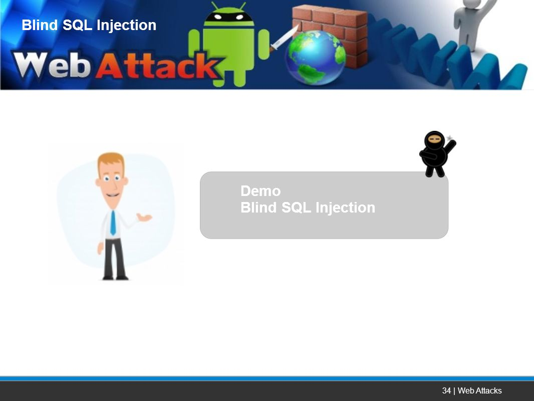 Blind SQL Injection Demo Blind SQL Injection 34 | Web Attacks