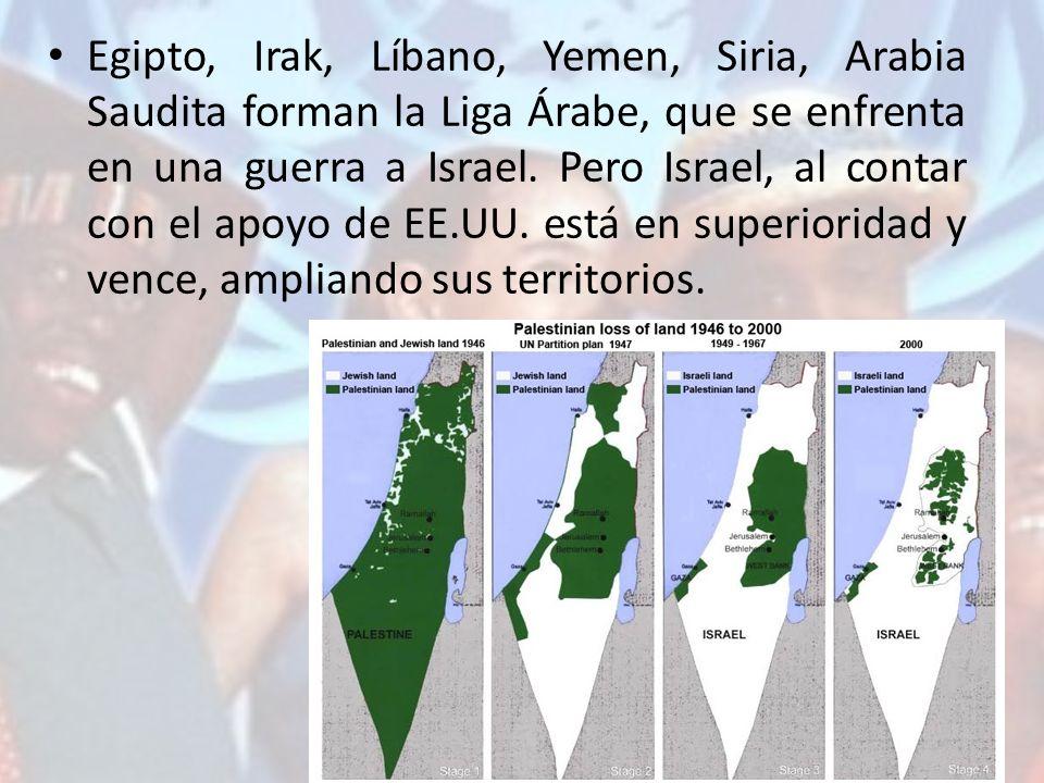 Egipto, Irak, Líbano, Yemen, Siria, Arabia Saudita forman la Liga Árabe, que se enfrenta en una guerra a Israel.