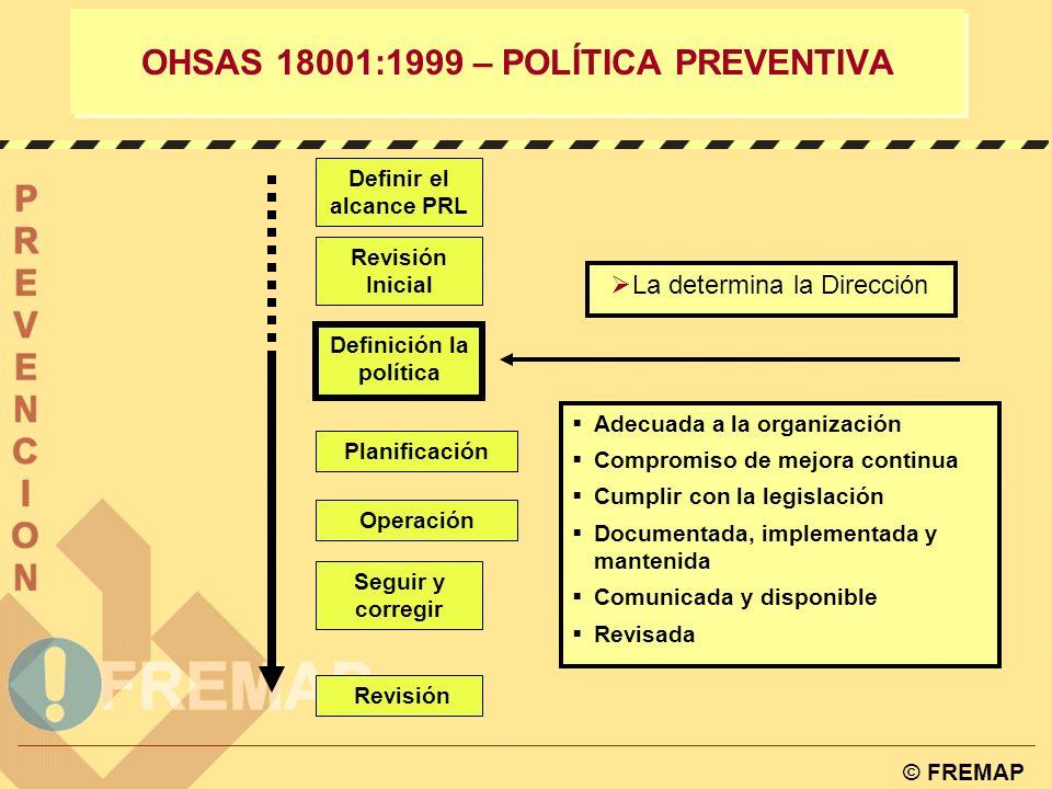 OHSAS 18001:1999 – POLÍTICA PREVENTIVA