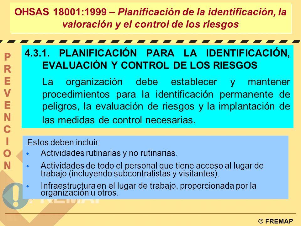 OHSAS 18001:1999 – Planificación de la identificación, la valoración y el control de los riesgos