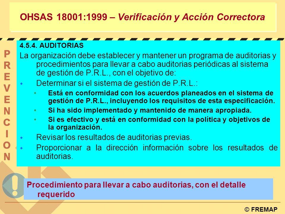 OHSAS 18001:1999 – Verificación y Acción Correctora