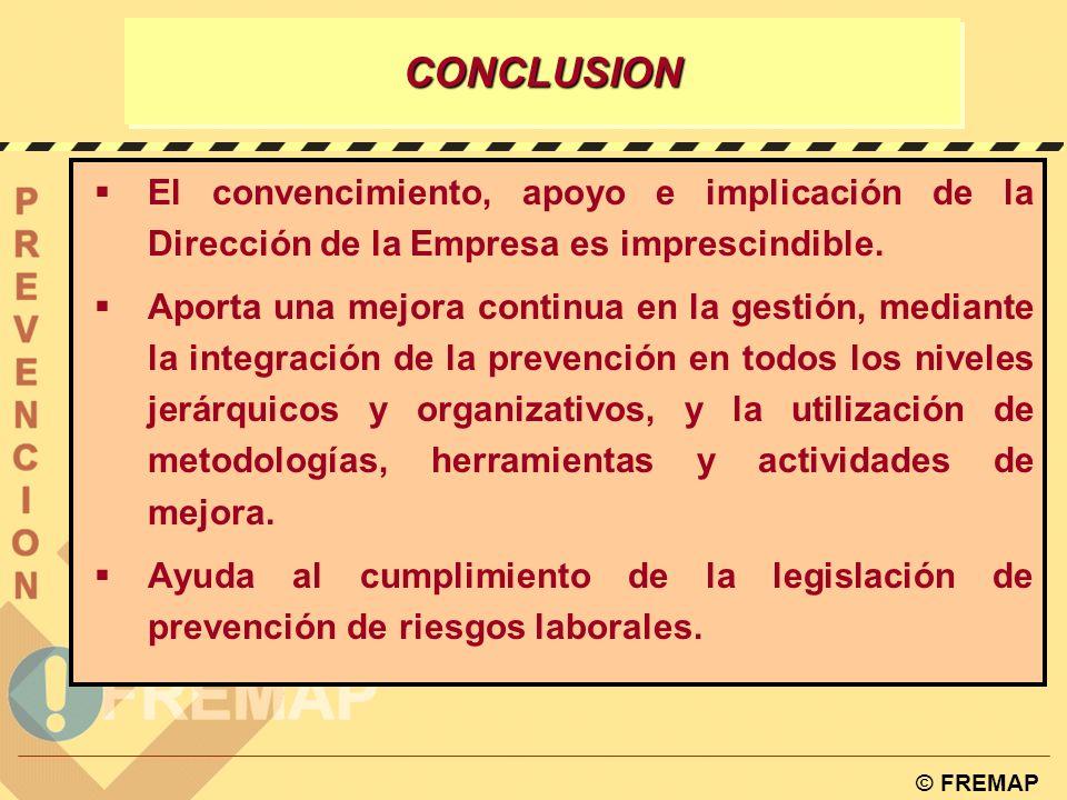 CONCLUSION El convencimiento, apoyo e implicación de la Dirección de la Empresa es imprescindible.