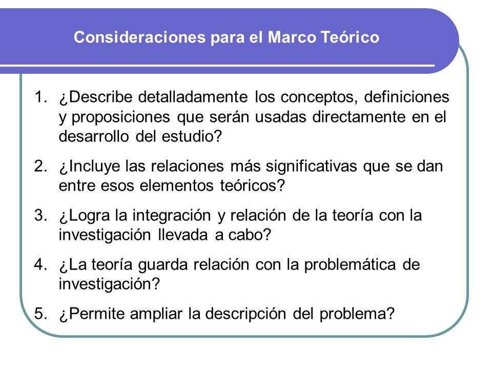 Consideraciones para el Marco Teórico