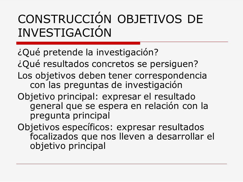 CONSTRUCCIÓN OBJETIVOS DE INVESTIGACIÓN