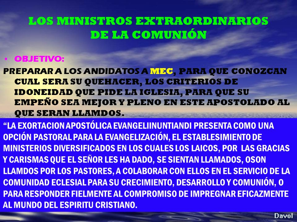 LOS MINISTROS EXTRAORDINARIOS DE LA COMUNIÓN