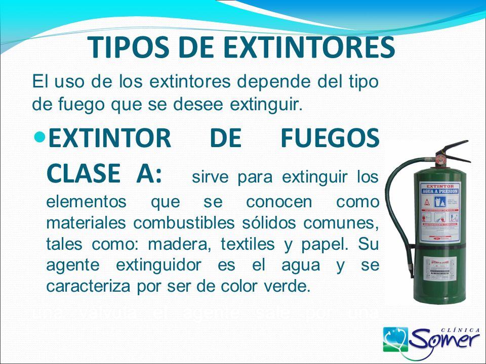 TIPOS DE EXTINTORES El uso de los extintores depende del tipo de fuego que se desee extinguir.