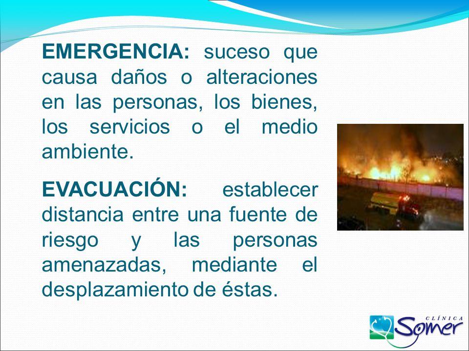 EMERGENCIA: suceso que causa daños o alteraciones en las personas, los bienes, los servicios o el medio ambiente.