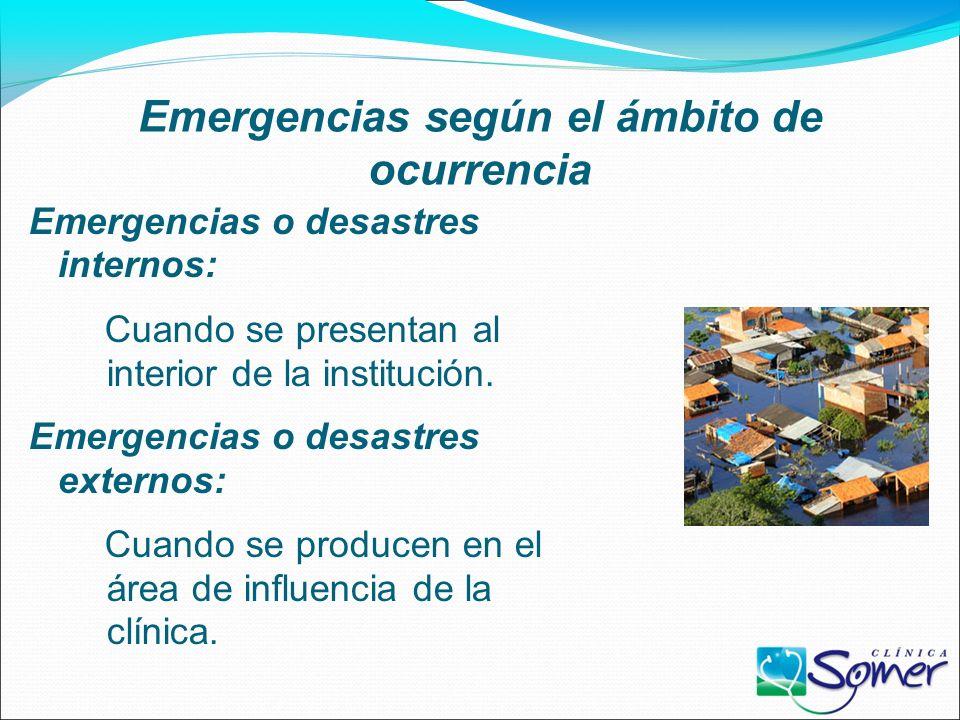 Emergencias según el ámbito de ocurrencia