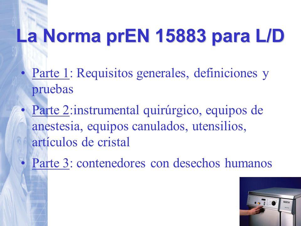 La Norma prEN 15883 para L/D Parte 1: Requisitos generales, definiciones y pruebas.
