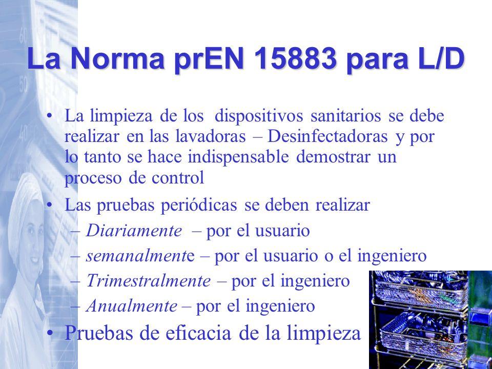 La Norma prEN 15883 para L/D Pruebas de eficacia de la limpieza
