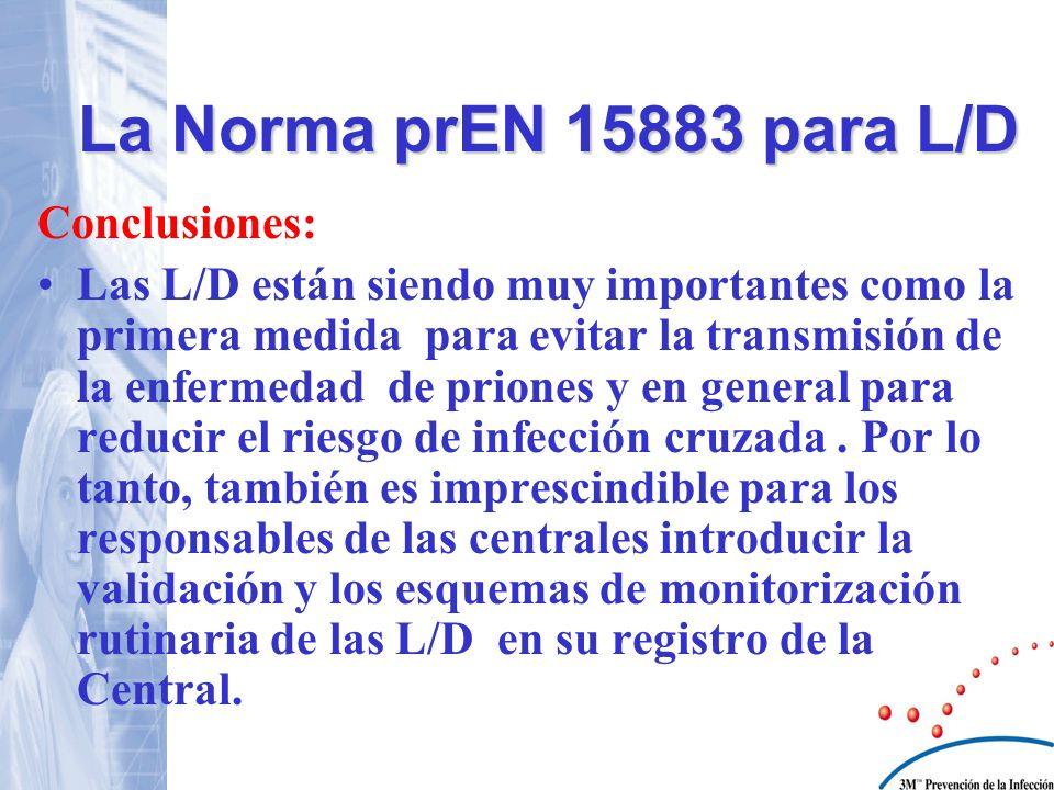 La Norma prEN 15883 para L/D Conclusiones:
